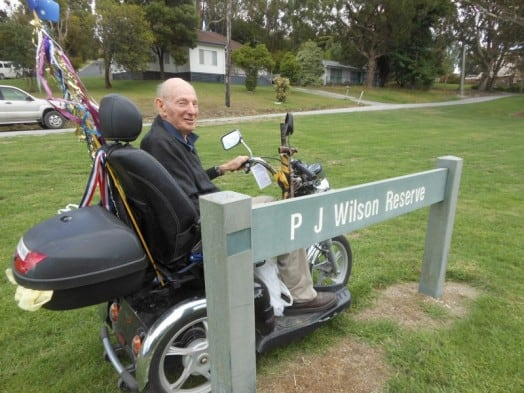 """• """"This land is our land"""" - Jim Wilson at P J Wilson Reserve in Berry Street, Foster."""