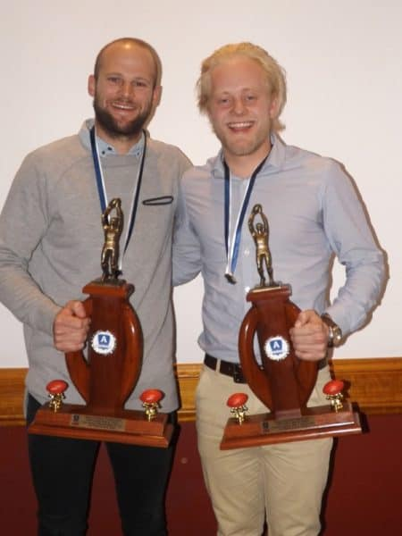 Chris Endres (left and Tom Cameron, joint winners in the AFNL senior best and fariest.